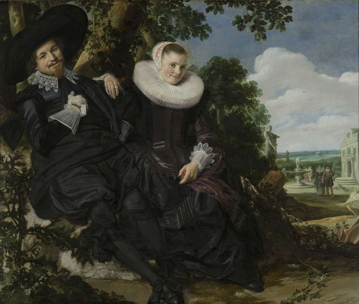 The fabulously wealthy Haarlem merchant and his wife commissioned their friend Frans Hals to paint their portrait in an unusual way. Seventeenth-century couples rarely appear together in a single painting, especially in such a nonchalant pose.  Hals included all kinds of symbols of love in the scene, such as the thistle on the left. A Dutch name for the plant was 'husband's fidelity'. Portrait of a couple in a garden, Frans Hals, ca. 1622.