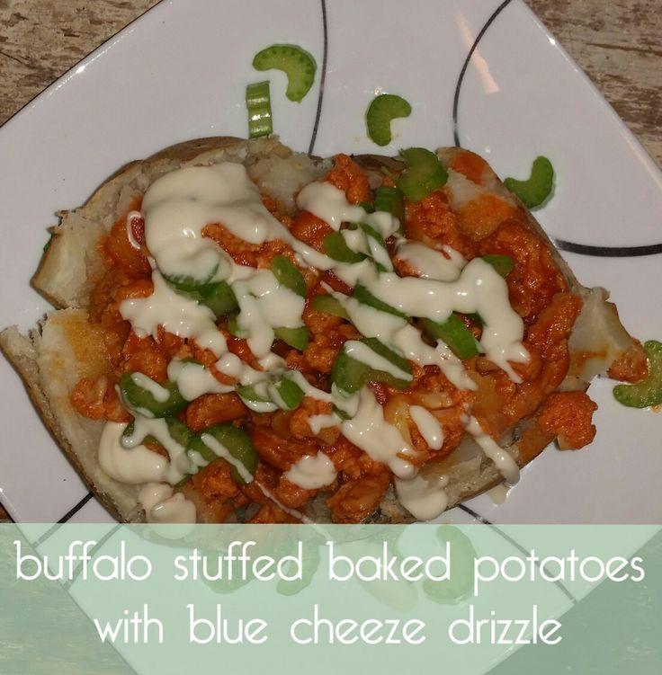 Buffalo Stuffed Baked Potatoes with Blue Cheeze Drizzle