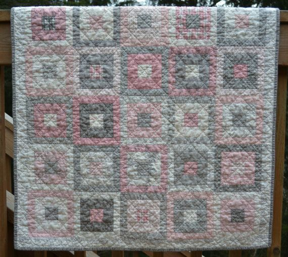 Handmade Baby Girl Quilt Lily Amp Will Pink Grey And White
