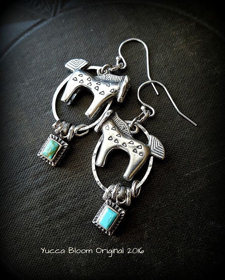 Turquoise, South West, Country, Upcycled, Recycled, Pony, Horse, Bohemain, Organic, Rustic, Tribal,  Hoop, Beaded Earrings by YuccaBloom on Etsy