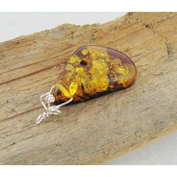 Amber pendant, baltic amber jewelry, natural amber, baltic amber silver jewelry, raw amber jewelry, wire jewelry, amber wire (160 PLN) found on Polyvore featuring women's fashion, jewelry, pendants, wire jewelry, amber jewellery, amber pendant, silver amber jewelry and wire pendant
