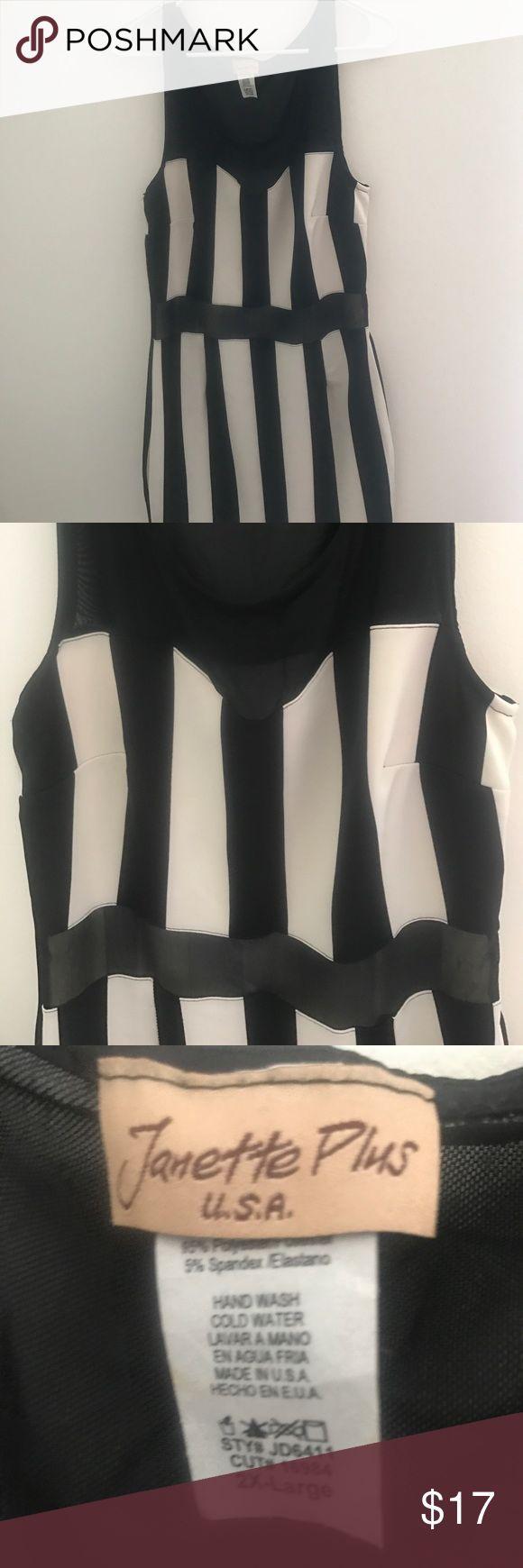 Black and Cream Mini Dress 👗 Black and Cream Mini Dress 👗 Never worn. Mesh Shoulders and Mesh panel. Size 2x. Dresses Mini