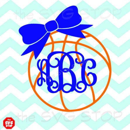 Monogram Basketball with bow SVG and studio files for Cricut, Silhouette, Vinyl Cutters and Screen Printing by SVGstop on Etsy https://www.etsy.com/listing/226073864/monogram-basketball-with-bow-svg-and
