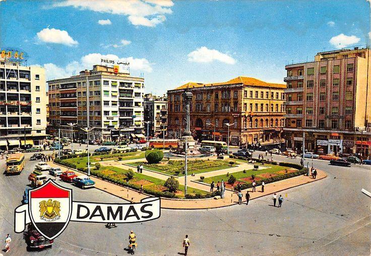 Syria Damas, Place des Martyres, Damascus, Square, auto cars bus