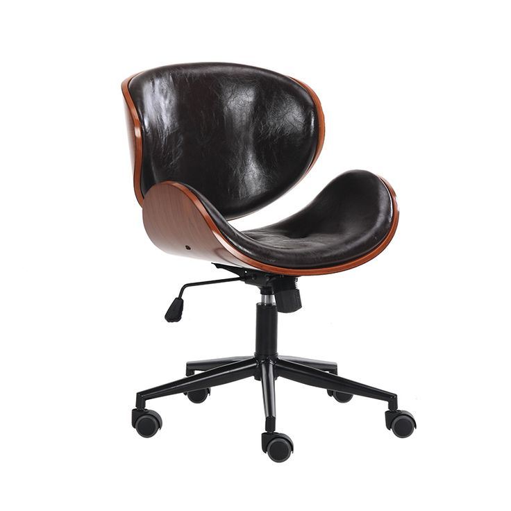 Bentwood Adjustable Swivel Home Office Mobile Desk Chairs With Caster Wheels Black Leather Seat Modern Ergonomic Office Chair