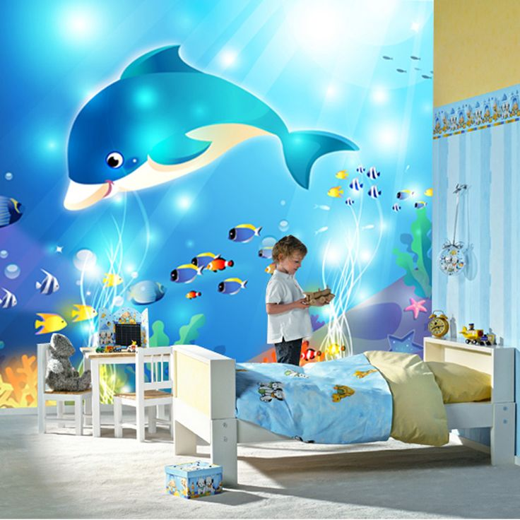 3D Stereo Cartoon Dolphin Ocean World Photo Mural Wallpaper for Kids Room Background Wall Decor Custom Size Non-woven Wall Paper