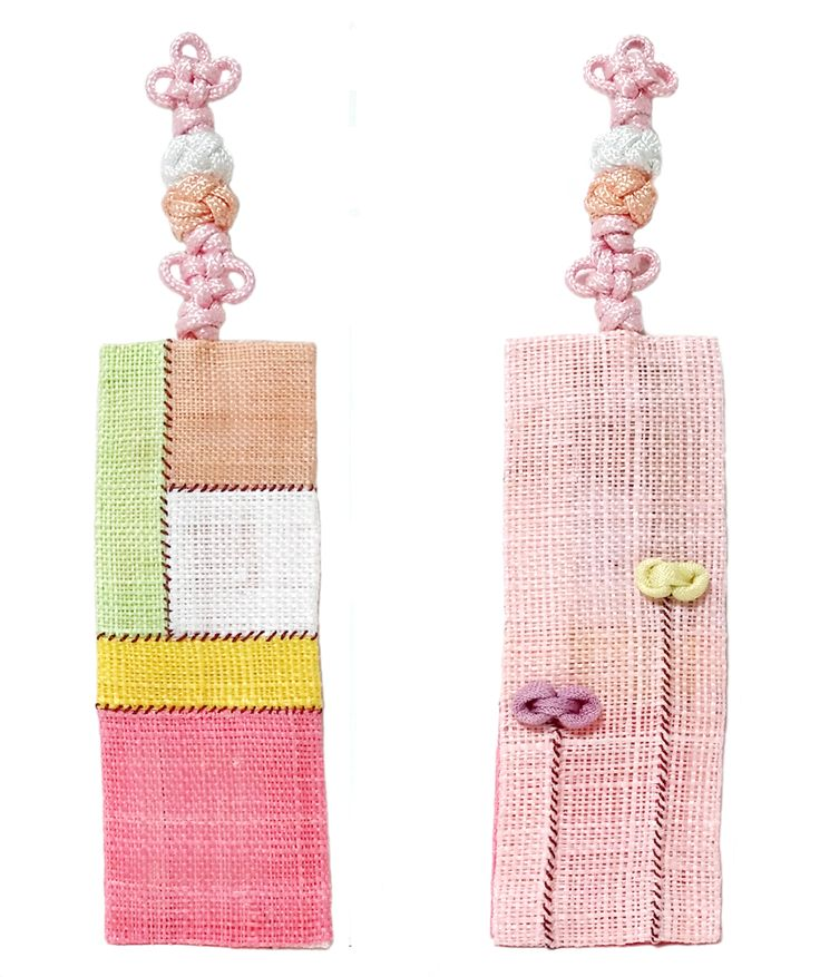 Korean traditional patchwork with Ramie fabric & traditional Knot