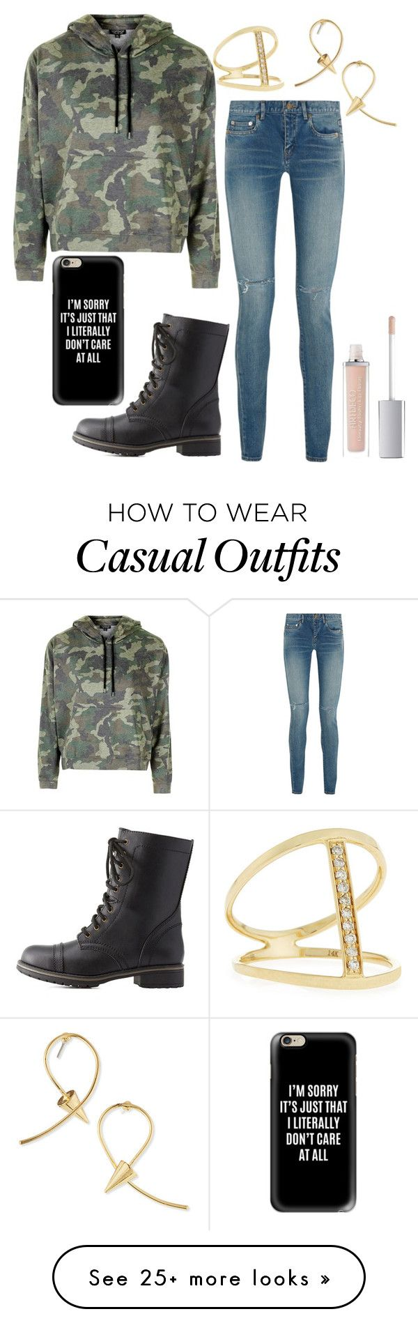 """""""Casual day."""" by gracenerada on Polyvore featuring Topshop, Yves Saint Laurent, Charlotte Russe, Casetify, ArtDeco, Jules Smith and Sydney Evan"""