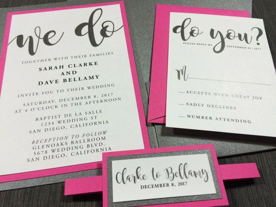 fun magenta and gray wedding invitations hot pink wedding fun wedding invitations grey metallic invitations fuscia wedding invitation