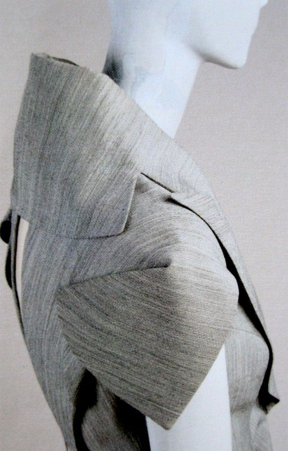 Innovative Patten Cutting - jacket with origami sleeves; sewing inspiration; fashion design detail // Alexander McQueen