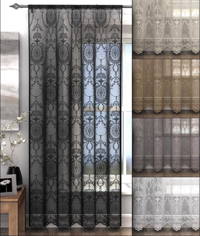 Holly Elegant Damask Lace Curtain Voile Panel Many Colours