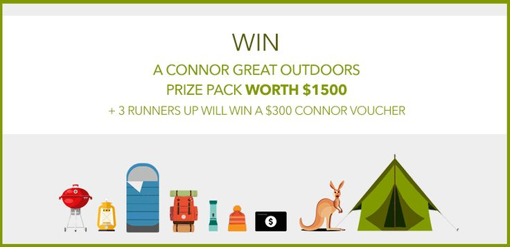 Your chance to WIN a Connor clothing and camping prize pack worth $1500 or 1 of 3 runner up $300 Connor Vouchers. All you need to do is enter the draw here > http://woobox.com/2ixphn