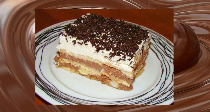 Πανεύκολο+γλυκό+ψυγείου+με+σοκολάτα+και+λίγες+θερμίδες