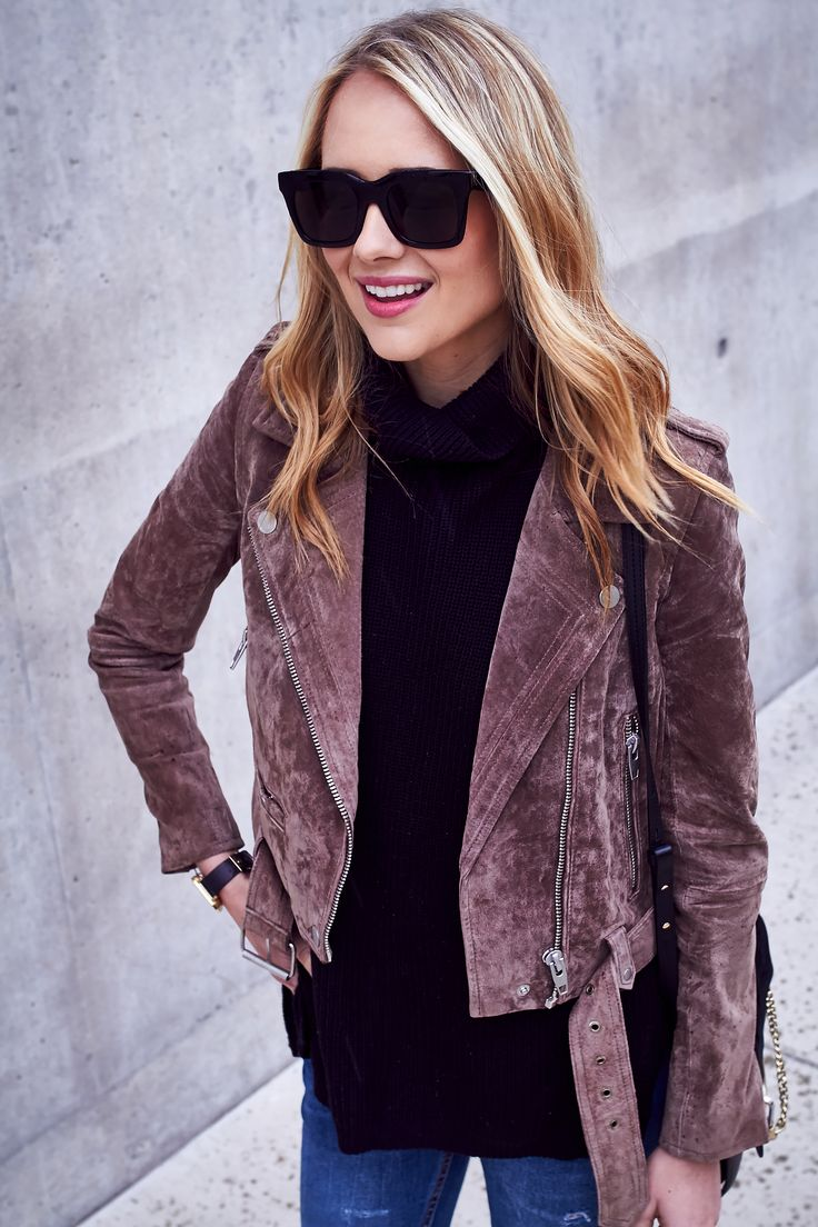 Fall Outfit, BLANKNYC Morning Suede Moto Jacket, Black Turtleneck Sweater, Denim Ripped Skinny Jeans, Black Celine Sunglasses