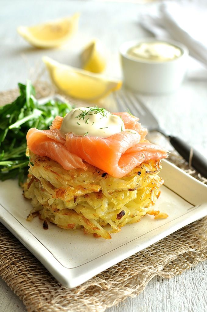 Smoked Salmon Potato Rosti Stack (Hash Brown) by recipetineats: A stack of golden, crunchy potato rosti / hash browns topped with smoked salmon and sour cream. Great for a lazy brunch! #Salmon #Potatoes