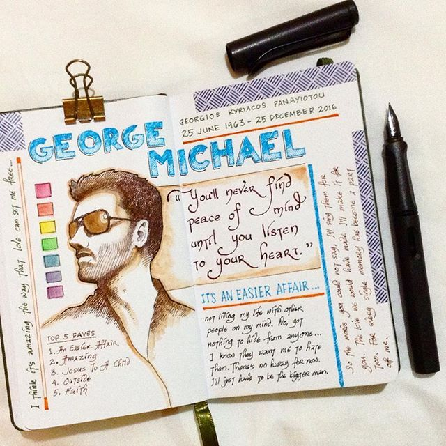 I had just returned from my morning swim when I heard of this tragic news - George Michael @georgemofficial is no more. 💔 I love his post-Wham songs, they are written so well and speak from the heart. I'm not supposed to be posting while I'm here with fam for holidays. But I feel I need to make a tribute about this passing of a music legend. A journal entry of fave songs and lyrics will do for now as I haven't brought enough art materials with me to make a bigger portrait. AN EASIER AFFAIR…