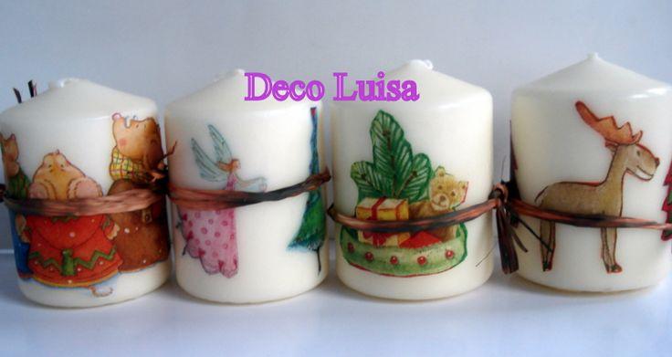 Velas decoradas con decoupage motivos navideños. Pueden ser con otros motivos. Ideales como detalles de invitadas en cualquier tipo de evento.