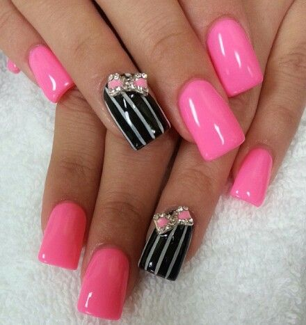 Hot Pink nails! With little bows So pretty! | Nail art ...