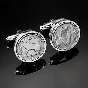 1928 IRELAND THREEPENCE CUFFLINKS Available on www.worldcoincufflinks