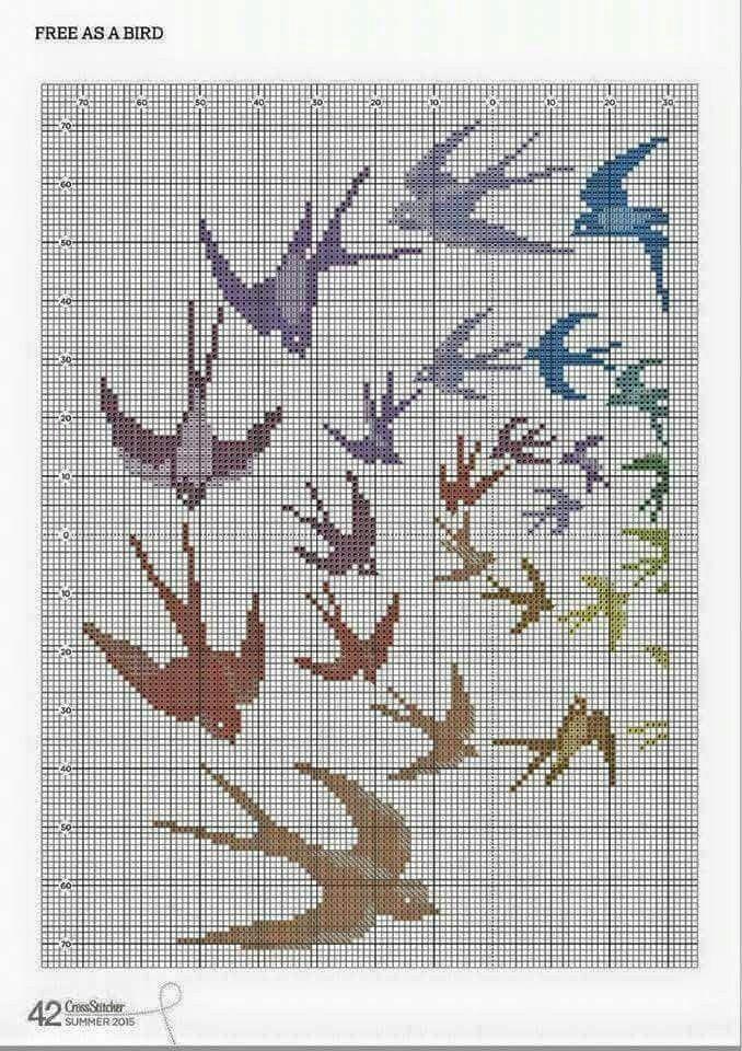 Borduurpatroon kruissteek Dieren *Embroidery Cross Stitch Animals ~Zwaluwen *Swallow~