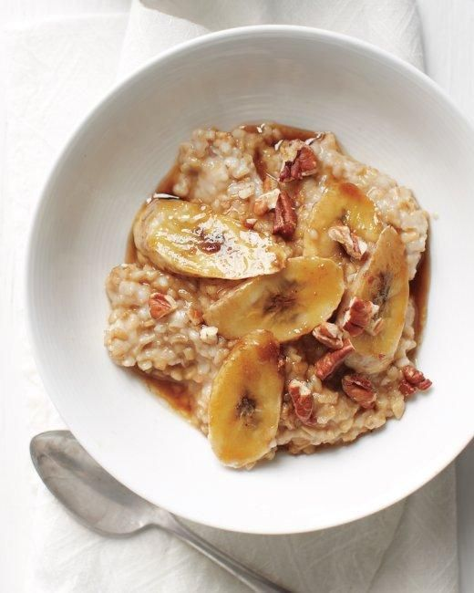 Baked Banana-Pecan Oatmeal via @Martha Stewart // banana pecan oatmeal breakfast recipe