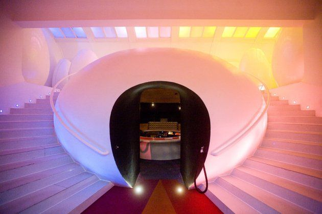 Down to the intimate sunken bar, up to egg pod restrooms at Sketch London