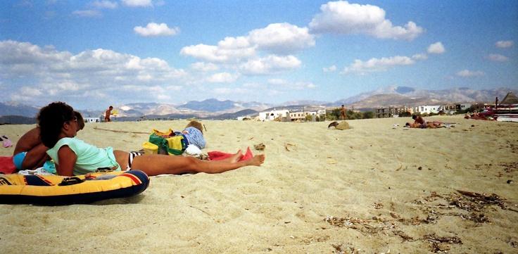 Catching rays - Naxos - Agios Prokopios Beach in '86