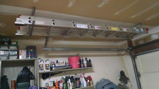 Hanging Ladder Above Garage Door Garage Organization