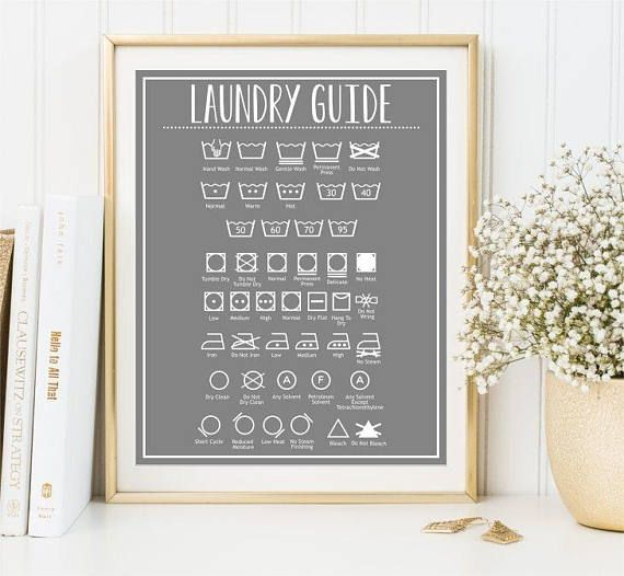 Laundry Guide Wash symbols print Clothes care sign Ironing