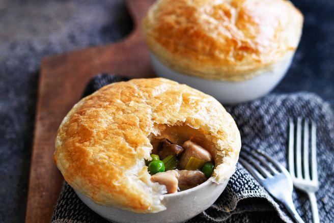 Chicken, mushroom and leek pot pie recipe from Louise Fulton Keats.