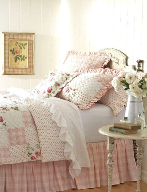 Totally feminine, love this. (Taylor Linens Kate Patchwork Quilt