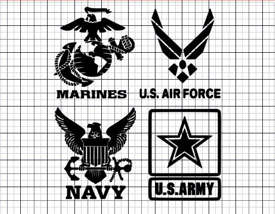 military decals army navy air force marines by HippieChicsMakings