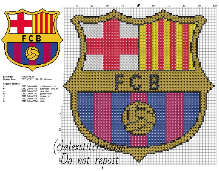 F C Barcelona soccer team badge free cross stitch pattern 99 x 101 stitches 7 DMC threads