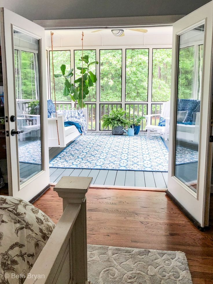 Glass Instead Of Screen Dining Room Screened In Back Porch Off Master Bedroom Creates An Outdoor Room Sunroom Designs Outdoor Rooms Back Porch Makeover