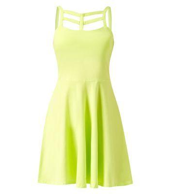 Green Lattice Front Skater Dress