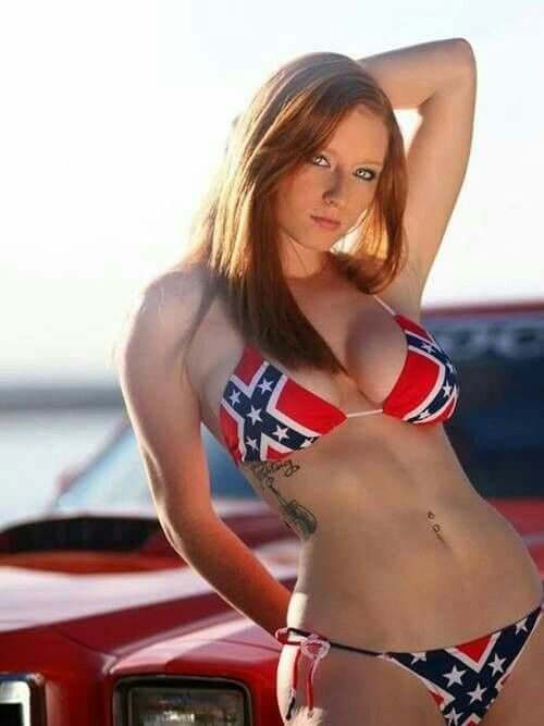 Hot girl in confederate flag bikini