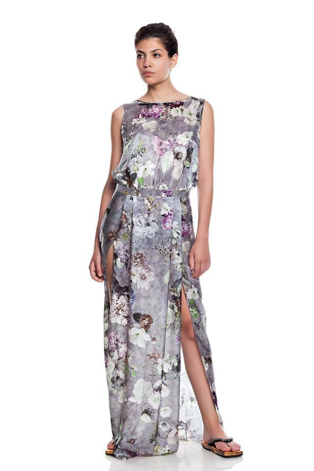 Low waist dress ,pure silk ,flower print .