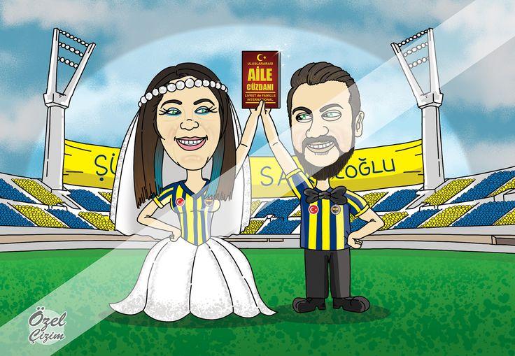 Fenerbahçe fanatiği çift için çizdiğim düğün davetiyesinin ön yüzü :)  #ozelcizim #karikatur #davetiye #davetiyeler #dugun #dugundavetiyesi #komik #komikdavetiye #eglenceli #komikdugundavetiyesi #karikaturludavetiye #Fb #fanatik #taraftar #Fenerbahce #SukruSaracoglu