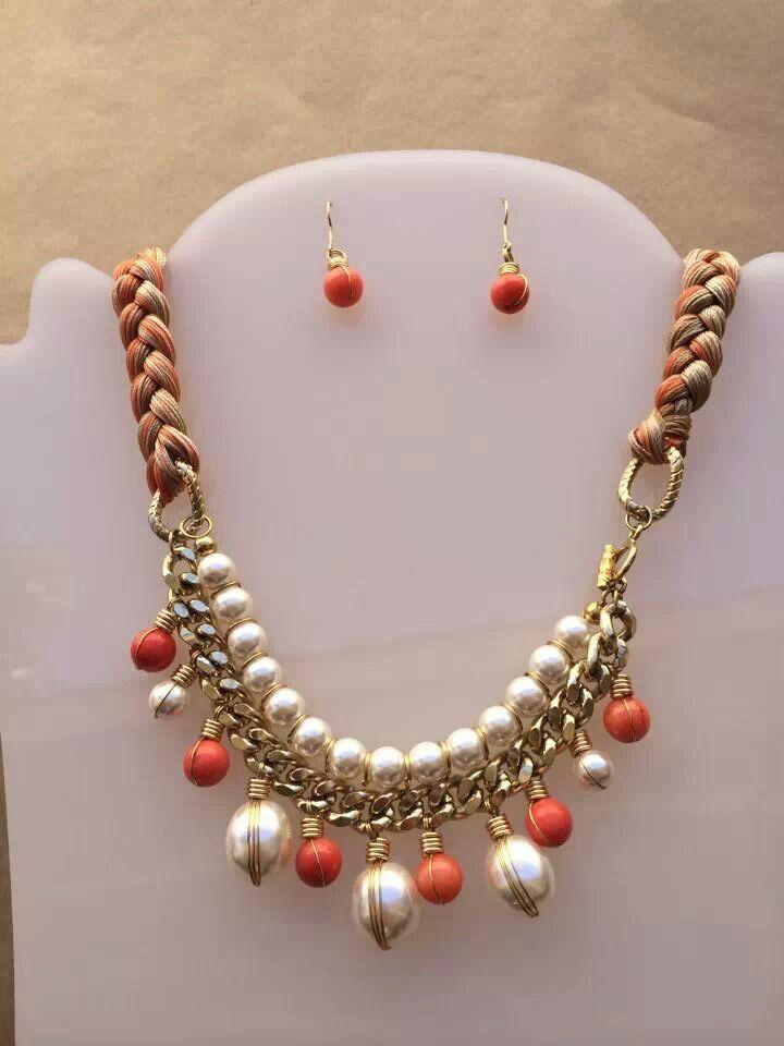 Collar perlas y piedras con trenza hilos