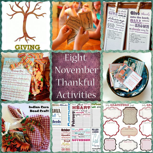 A collection of thankful activities for all ages. FAVORITE PART!...The THANKS and GIVING trees. A new twist on the gratitude tree.  Post daily on the THANKS tree things you're grateful for, and daily on the GIVING tree ways you've served...or GIVEN to someone else (because i have been given much i too much give!) LOVE THIS!!! (free printable included to make one for each family member)