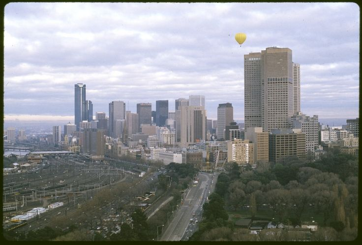 View of the city of Melbourne looking west. 1986