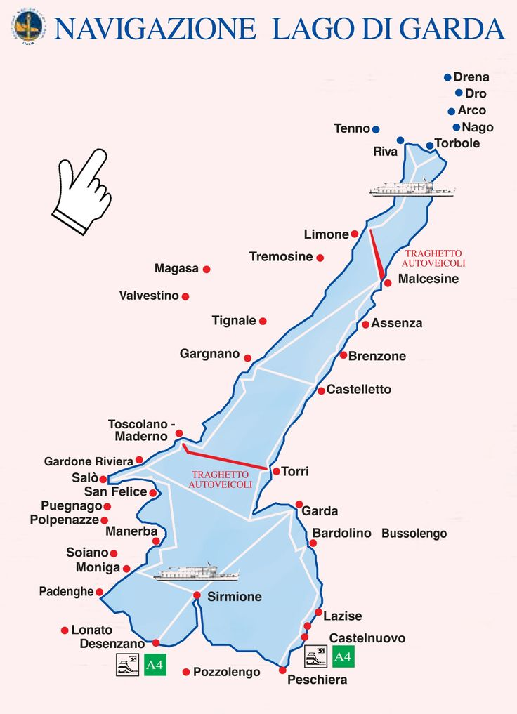 Lake Garda ferry map.  Take train from Vicenza to Peschiera.  Can take ferry to other lake towns from there.