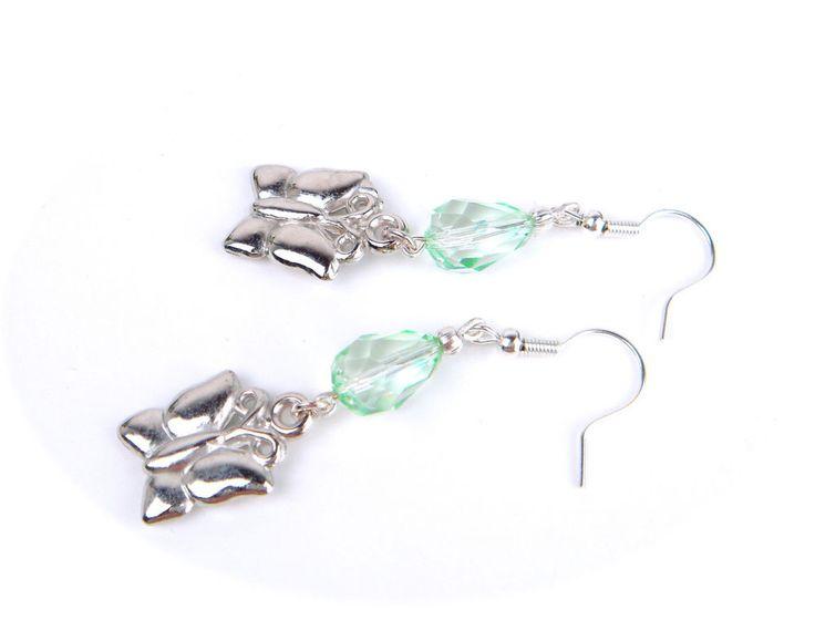 Vintage Czech Glass Art Deco Style Dangle Earrings AQUA GREEN Silver Butterfly #Unbranded #DropDangle