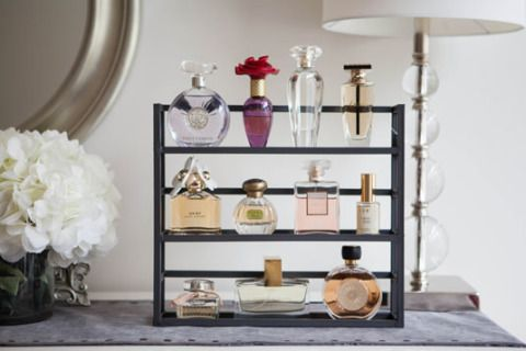 Use a spice rack as a shelf for your perfume bottles | 24 Life-Changing Ways to Store Your Beauty Products -Cosmopolitan.com