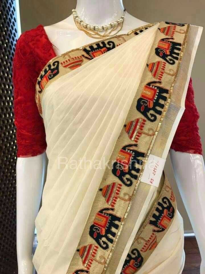 Cotton saree elephant border with blouse piece
