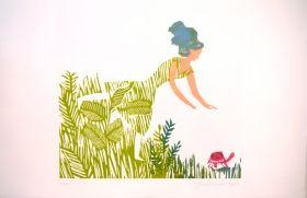 Robe d'herbe La pluie est amoureuse du ruissea Gravure sur bois