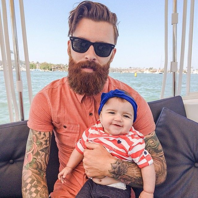 Levi Stocke with a baby - full thick red beard and mustache beards bearded man…