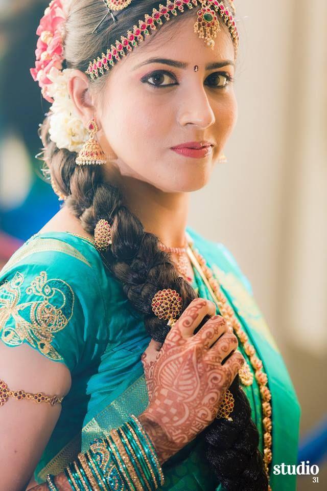 South Indian bride. Temple jewelry. Jhumkis.blue silk kanchipuram sari.Braid with fresh jasmine flowers. Tamil bride. Telugu bride. Kannada bride. Hindu bride. Malayalee bride.Kerala bride.South Indian wedding