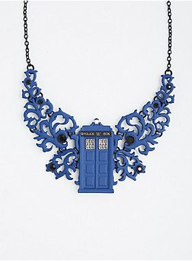 "Allons-y, Alonso! Better hurry, because this Doctor Who statement necklace is fabulous enough to transcend time and space. The 3-D design sports a cool blue swirling appliques that are detailed with a TARDIS pedant.<div><ul><li style=""list-style-position: inside !important; list-style-type: disc !important"">Lobster clasp</li><li style=""list-style-position: inside !important; list-style-type: disc !important"">14"" long with 5"" extender</li><li style=""list-style-position: inside !important…"