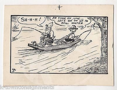 OLD MAN & COUNTRY BOY GONE FISHING LAKE BOAT ORIGINAL SIGNED INK CARTOON SKETCH
